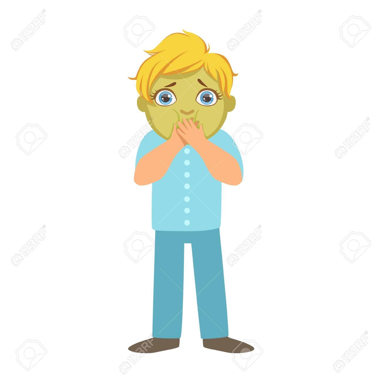 緑顔をして病気の子供の病気子供の部分とイラストの健康問題シリーズ