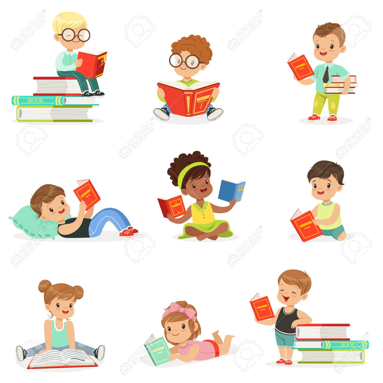 Kids Reading Books And Enjoying Literature Collection Of Cute
