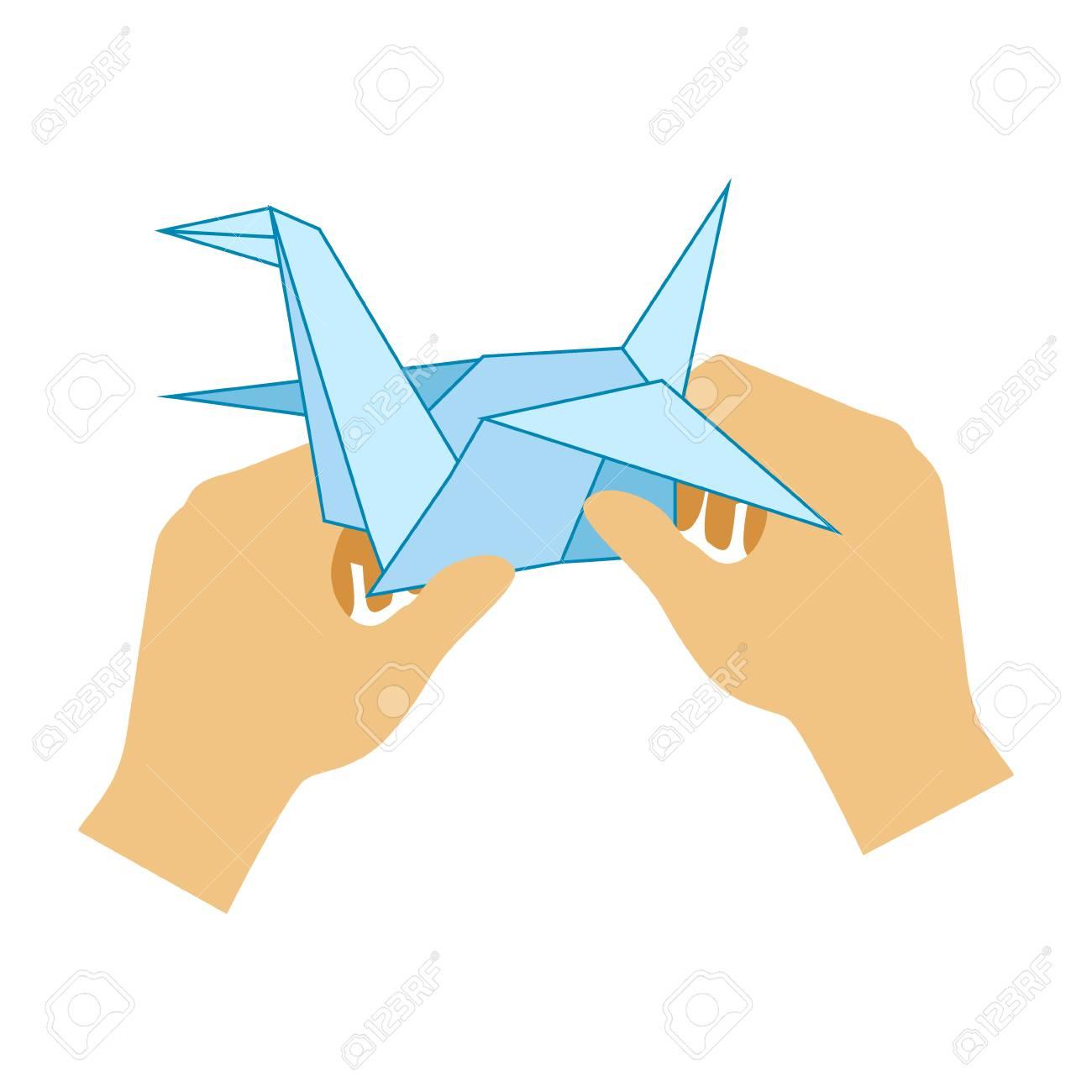 two hands doing origami paper crane elementary school art class vector illustration stock vector