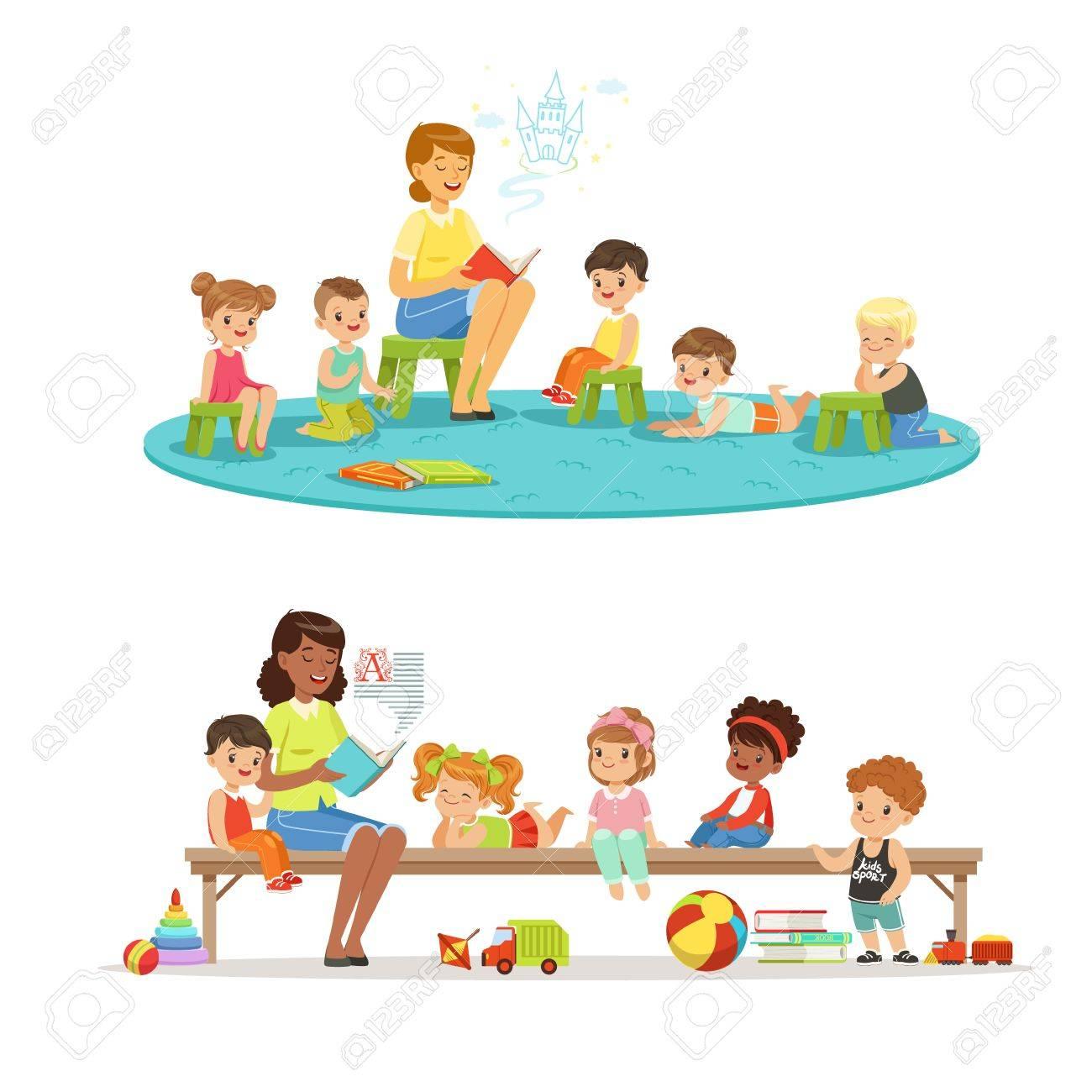 Group of preschool kids and teacher. Teacher reading for kids in the kindergarten. Cartoon detailed colorful Illustrations - 74811225