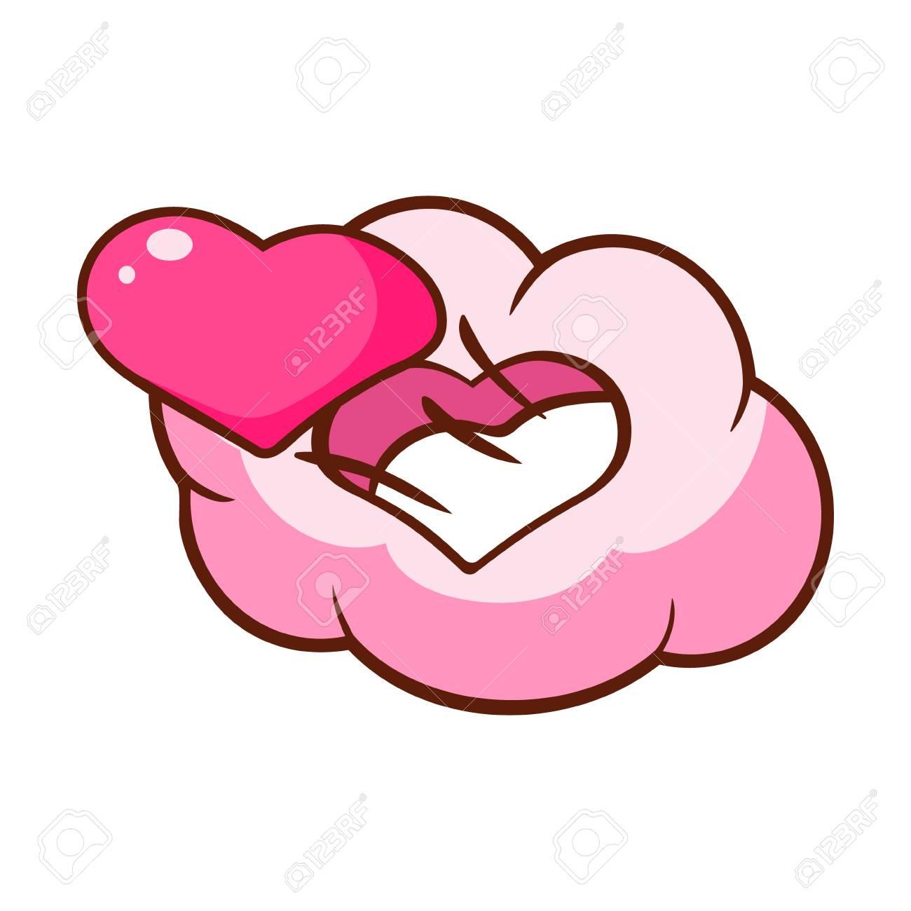 Coeur Rose Et Nuage En Forme De Coeur Illustration De Dessin Anime