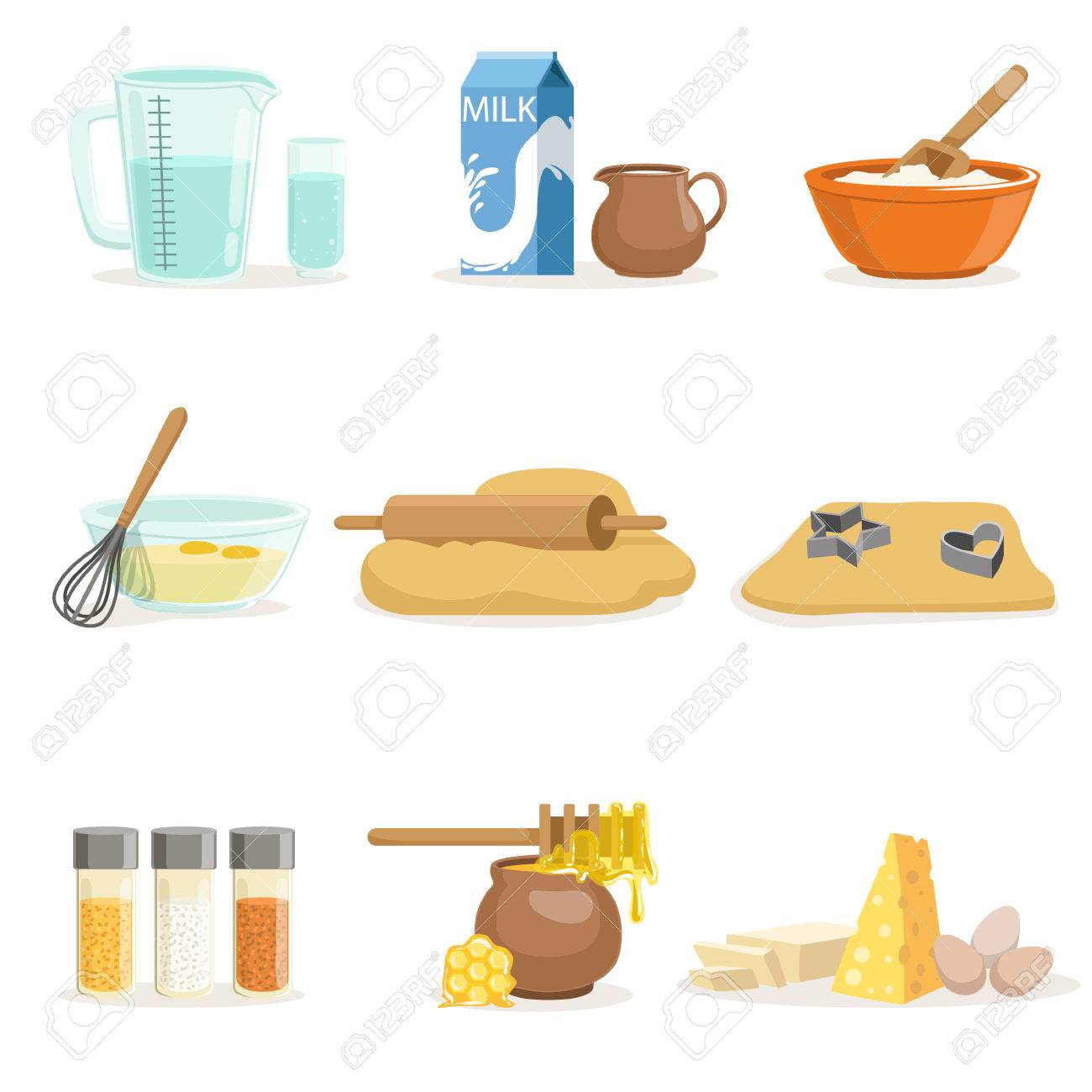 Backen Zutaten Und Küchenutensilien Und Utensilien Set Von ...