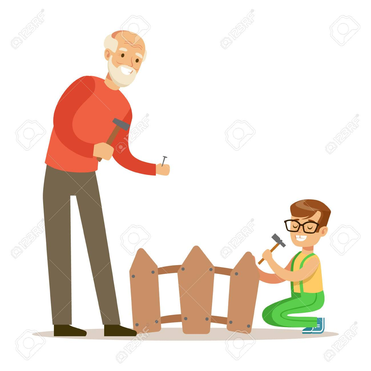 Junge Und Grossvater Die Nagel Im Zaun Teil Von Den Grosseltern