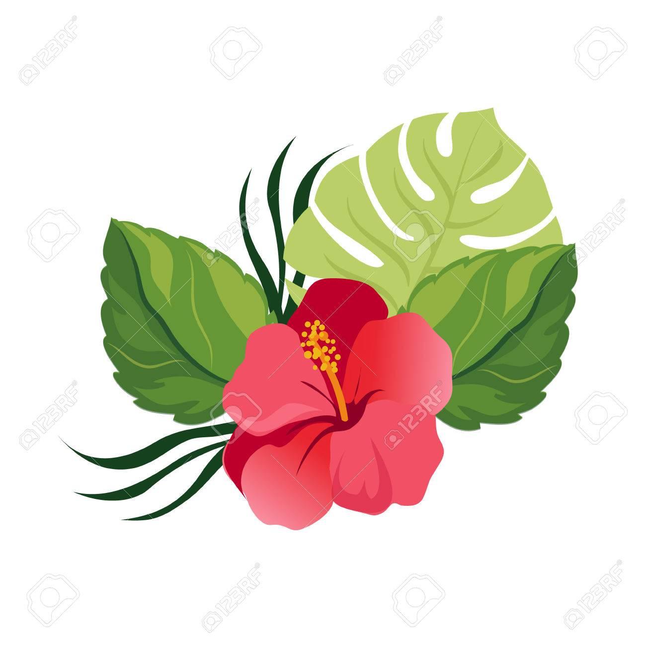 Bouquet With Tropical Flowers Elegant Floral Vector Composition