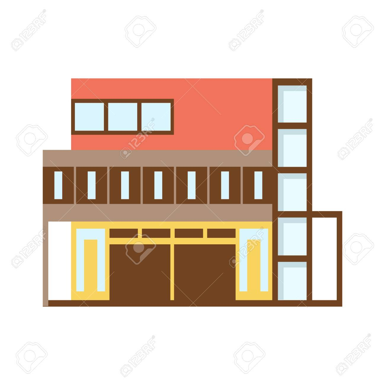 Brown And REd Shopping Mall Modern Building Exterior Design Project  Template Isolated Flat Illustration Stock Vector