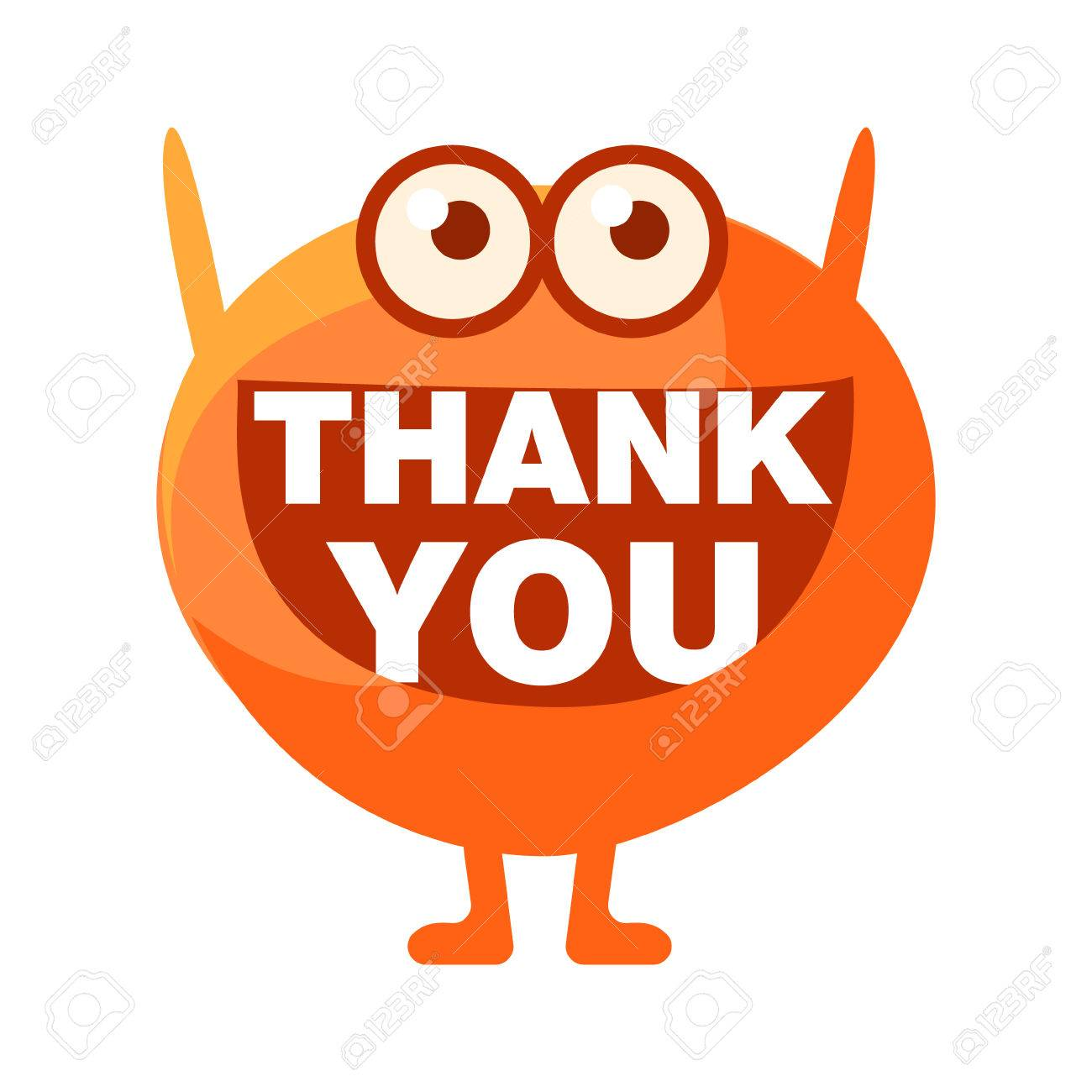 orange blob saying thank you cute emoji character with word