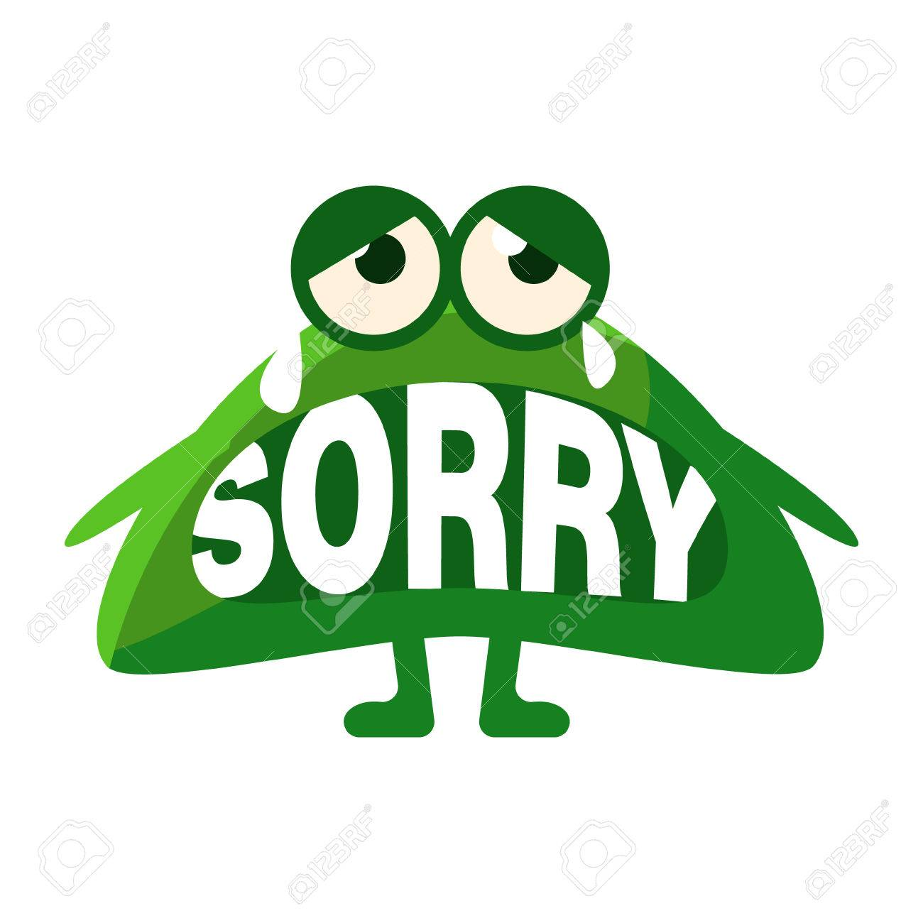 green blob saying sorry cute emoji character with word in the