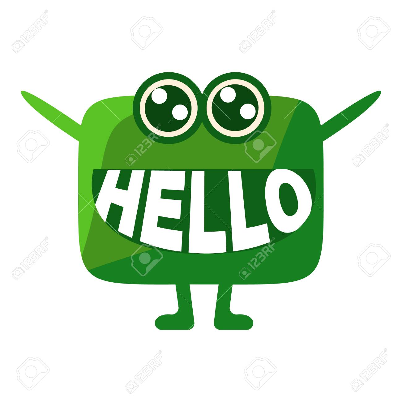 green blob saying hello cute emoji character with word in the