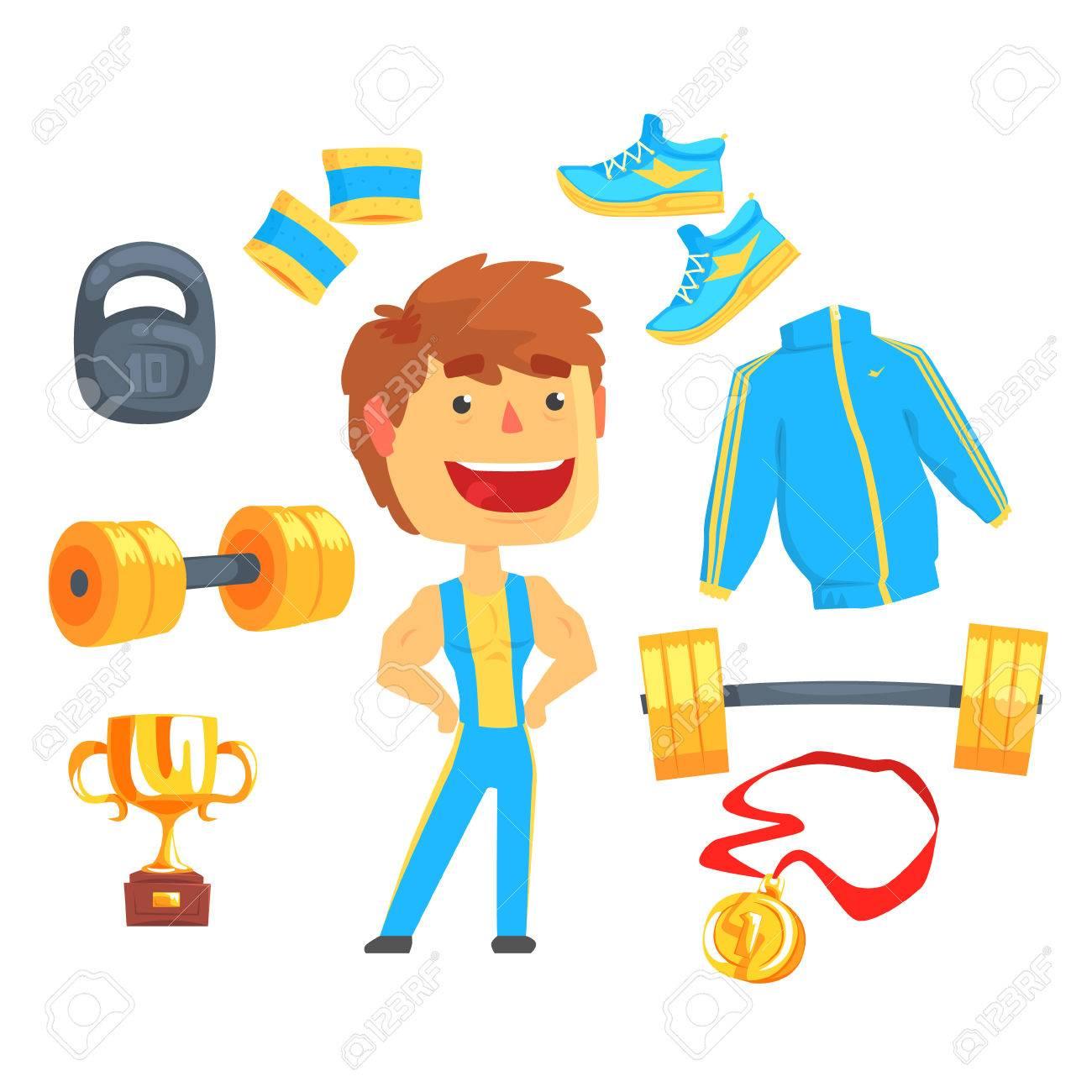 Illustrations Sportif Détaillées La D'étiquettesEquipement Musclé Conception MusculationDessin Pour Animé Coloré BodybuilderHomme rCxhBtdsQ