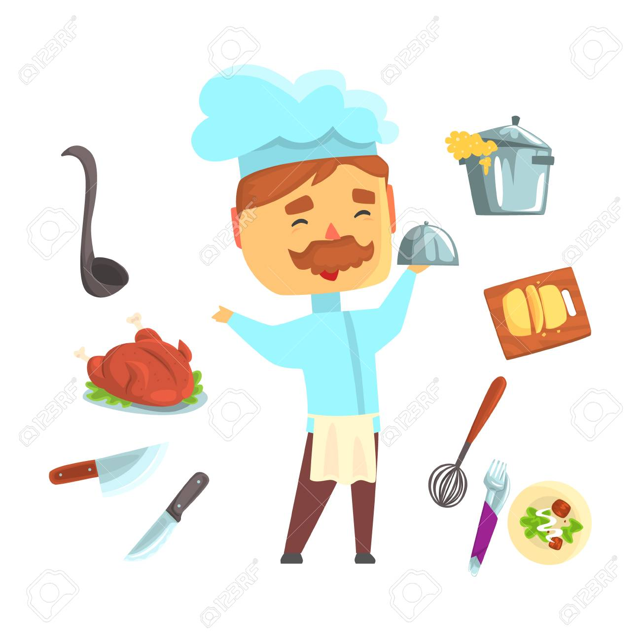 Smiling chef. Kitchen appliances and different dishes set for..