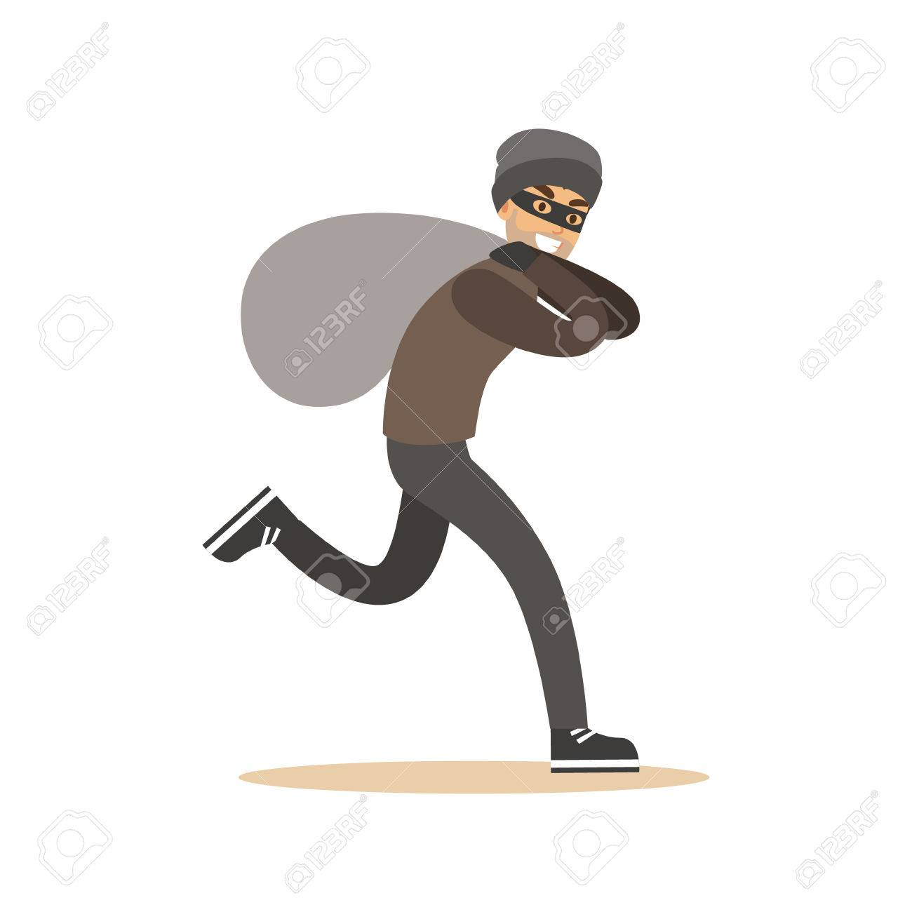Robber In Mask Running With Huge Sack Colorful Cartoon Character