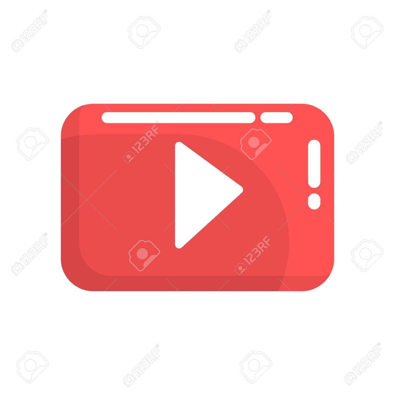 赤のビデオ再生ボタンインターネットや Youtube ボタンカラフルな