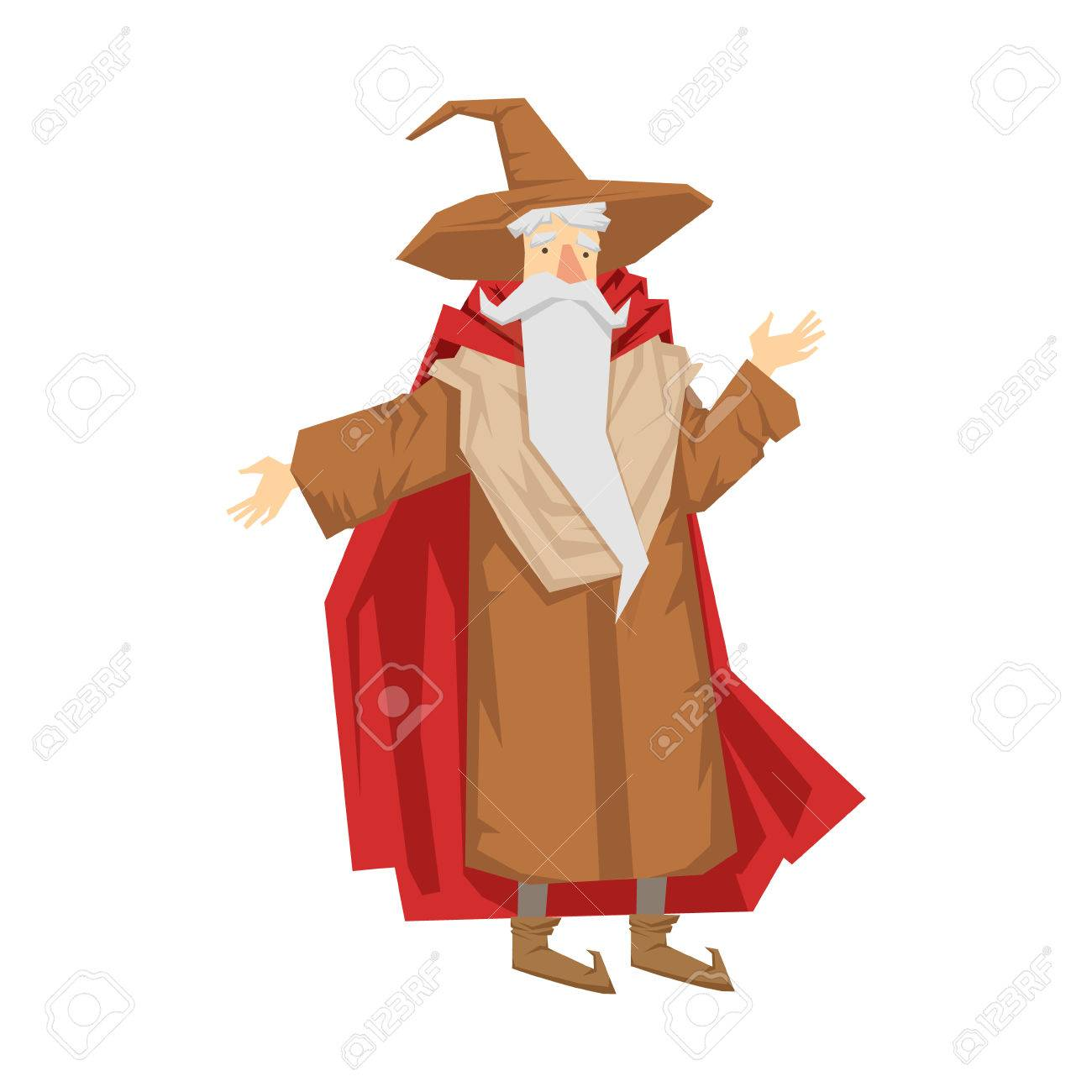 Old bearded wizard in the pointed hat  Colorful fairy tale character