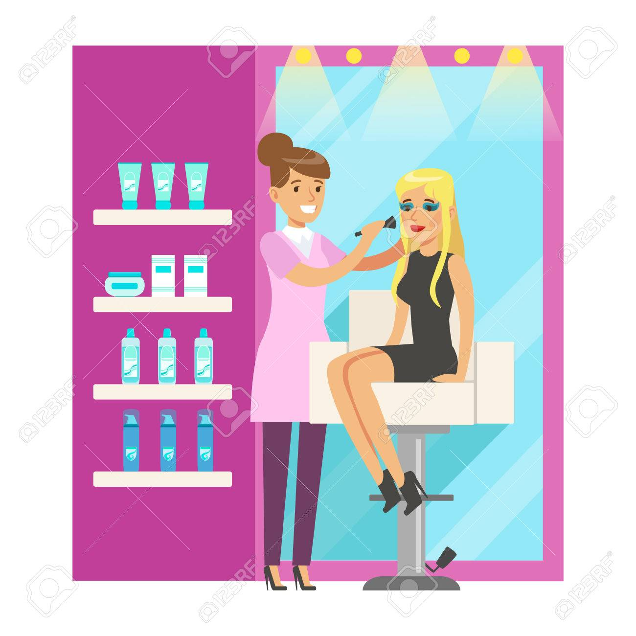 Makeup Artist Applying Makeup On A Beatuful Woman In Beauty Salon Royalty Free Cliparts Vectors And Stock Illustration Image 76831164