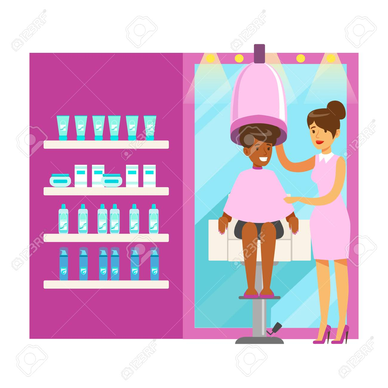 Women Drying Hair In Beauty Salon Colorful Cartoon Character Royalty Free Cliparts Vectors And Stock Illustration Image 76831162