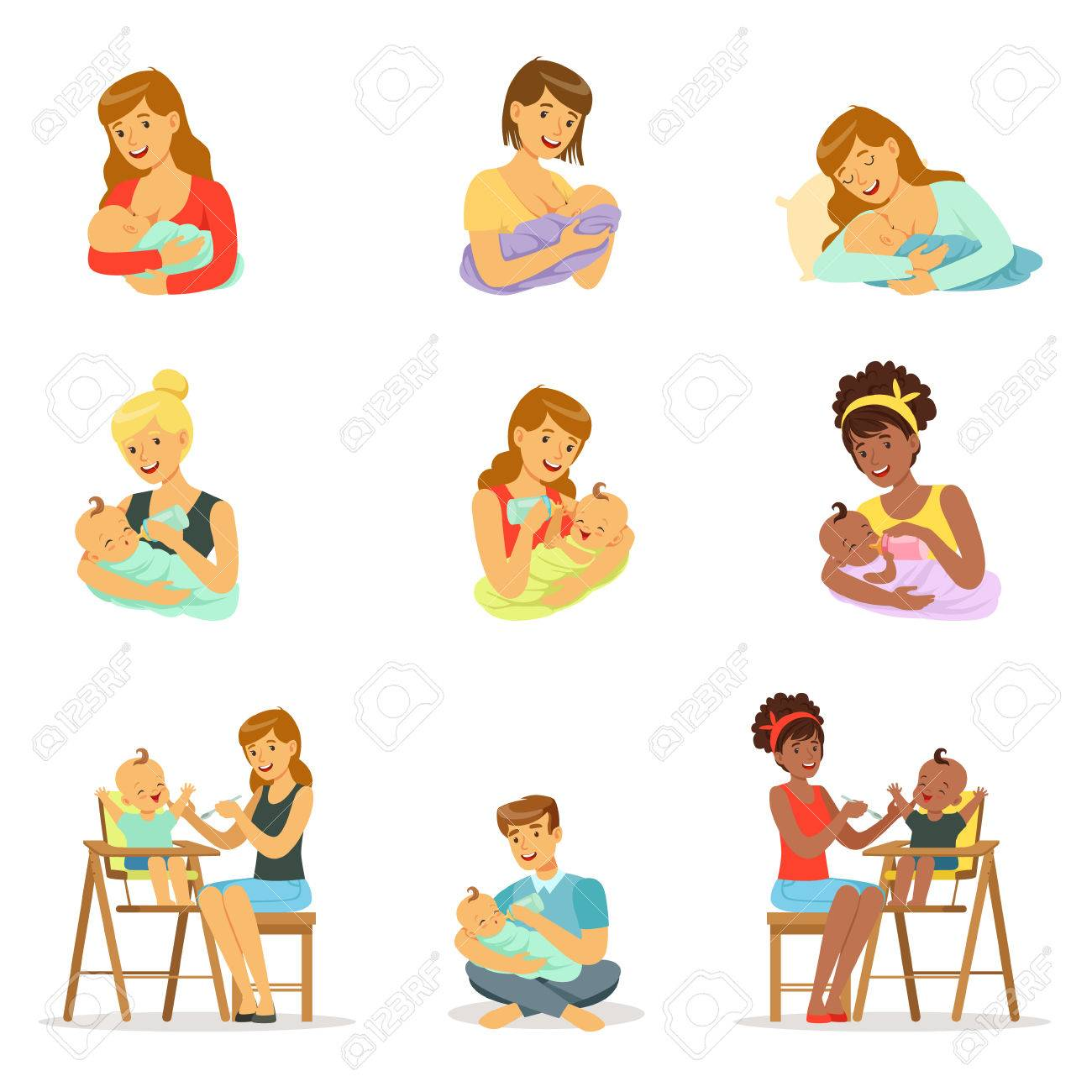 Mom and dad feeding their babies set for label design. Colorful cartoon characters - 76831115