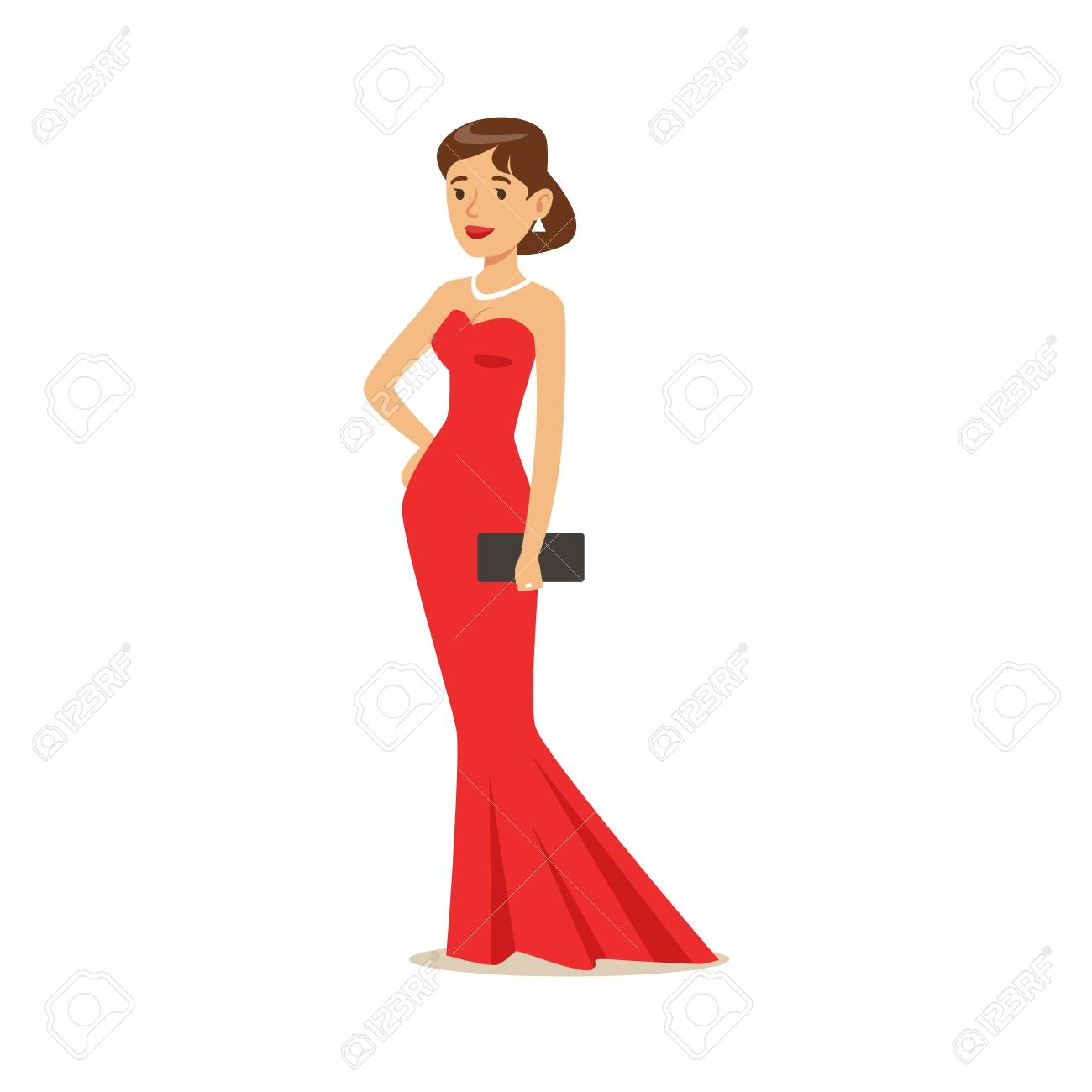 56659daeffe2a3 Mooi meisje in lange rode avondjurk. Kleurrijke cartoon karakter vector  illustratie geïsoleerd op een witte
