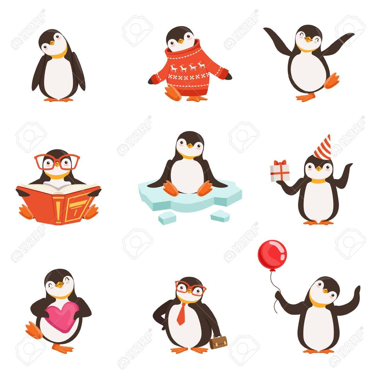 Mignon Petit Personnage De Dessin Animé De Pingouin Mis Pour La