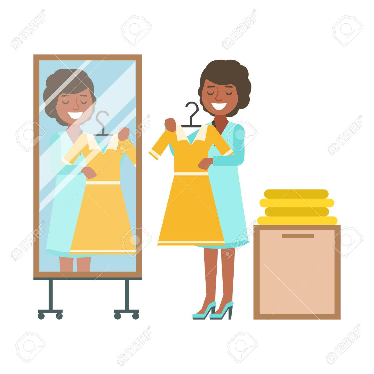 Woman Trying On Yellow Dress In Dressing Room Colorful Vector Illustration Stock