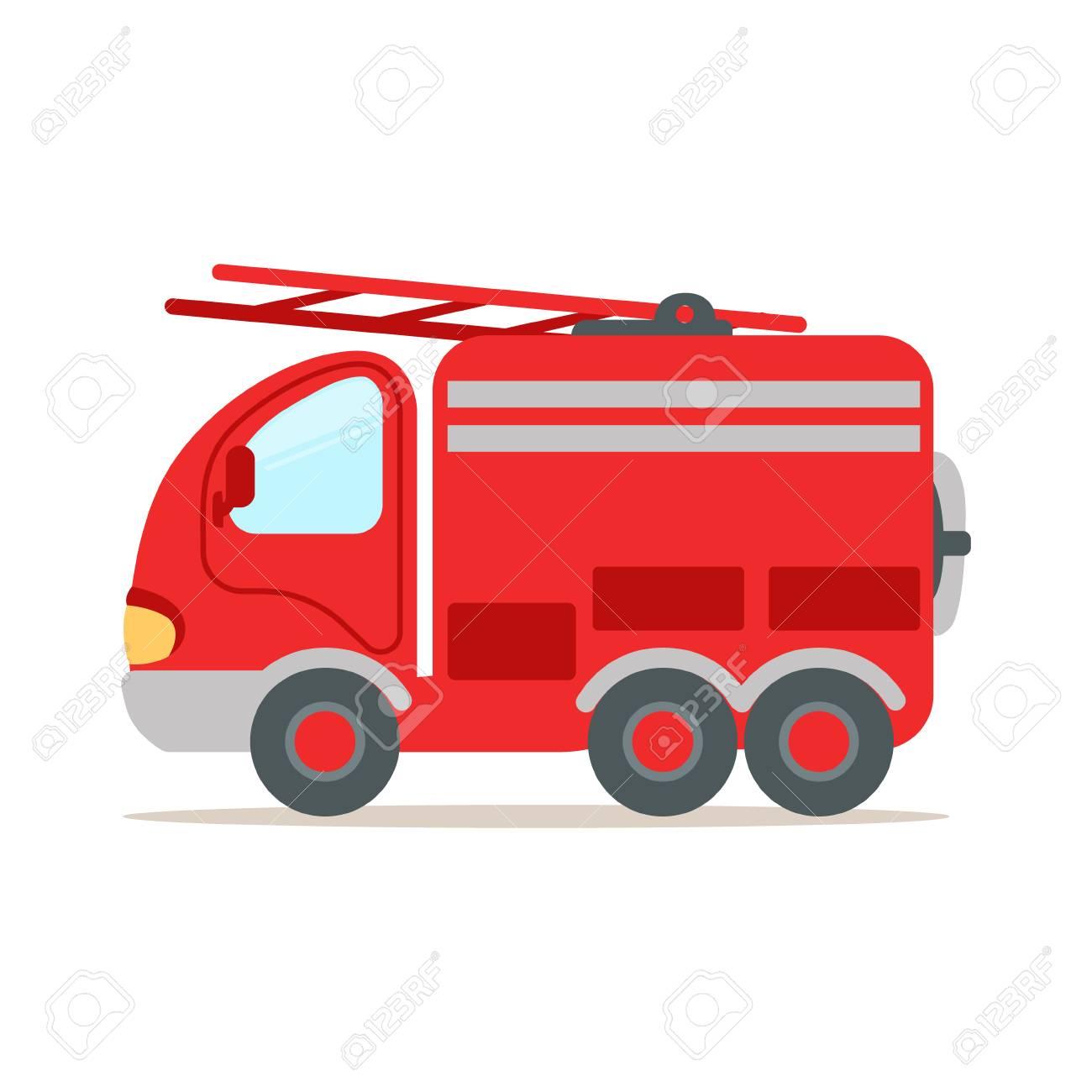 Camion De Pompier Rouge Vecteur De Dessin Anime Colore D Urgence