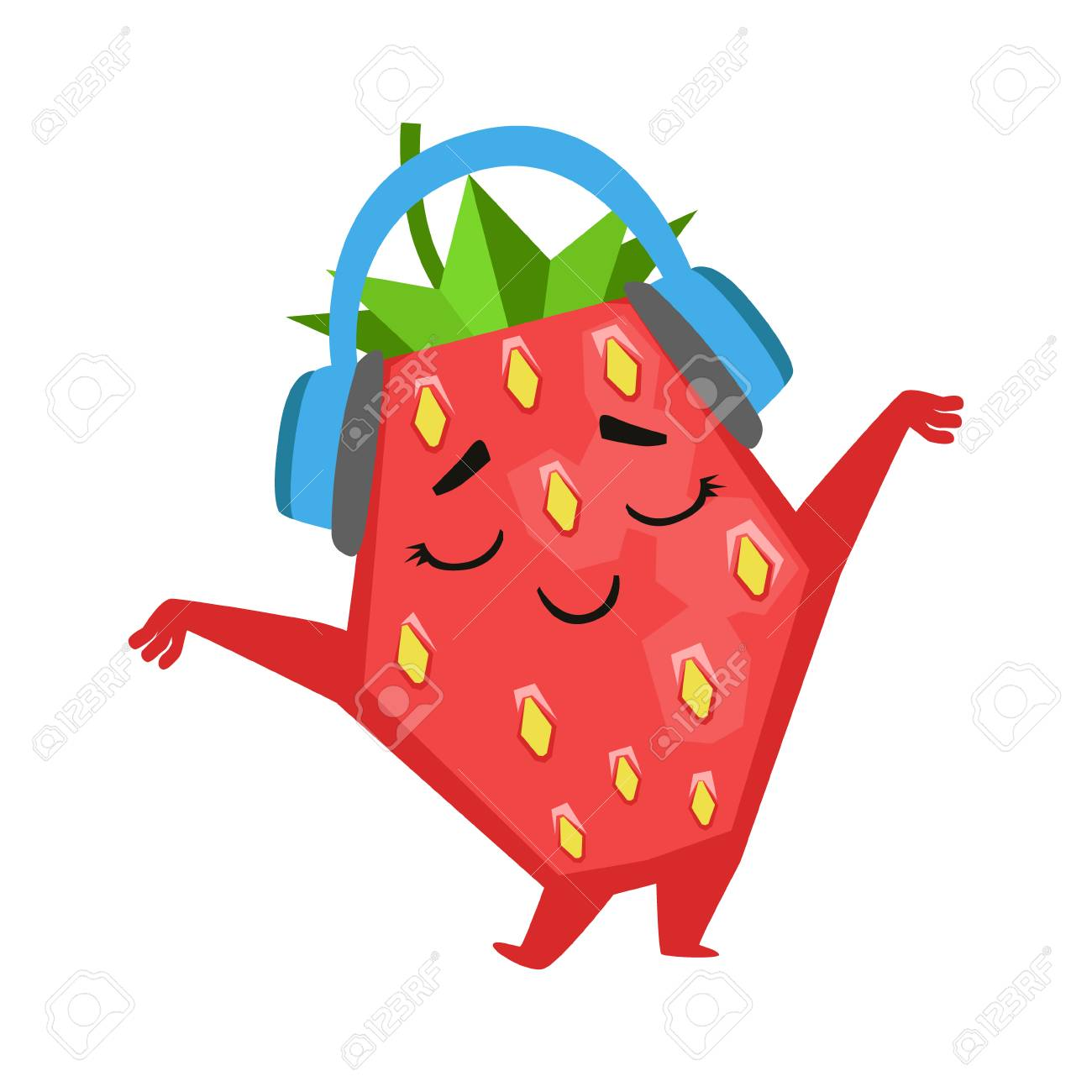 Happy funny strawberry dancing and listening to music in headphones