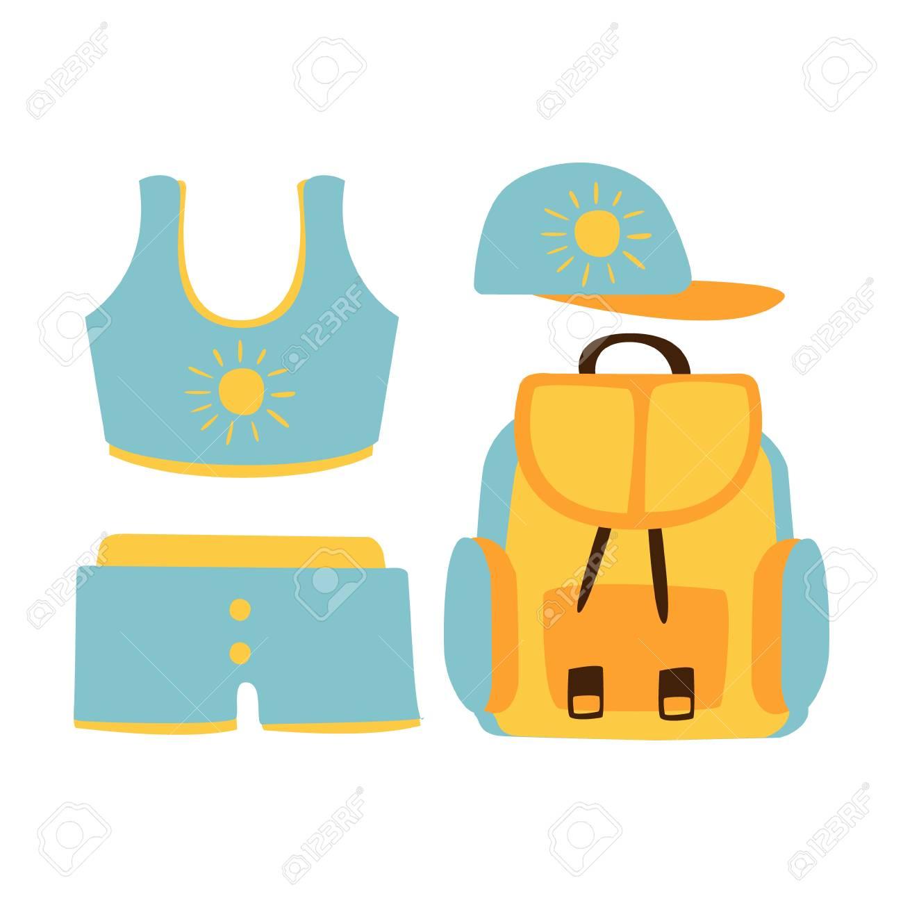 Banque d\u0027images , Shorts, haut, casquette, sac à dos, accessoires de plage  pour femmes en couleurs bleu clair Vacances à la plage. Illustration de  dessin