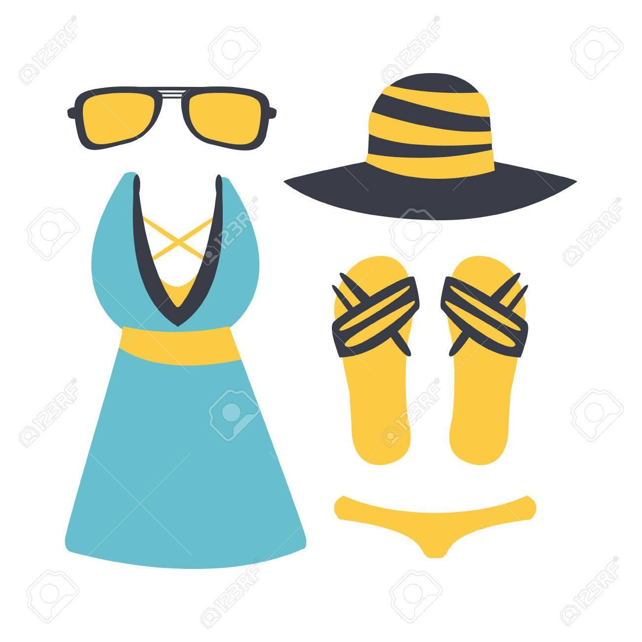 Banque d\u0027images , Maillot de bain avec accessoires de plage. Plage et  vacances tropicales. Illustration de dessin animé coloré