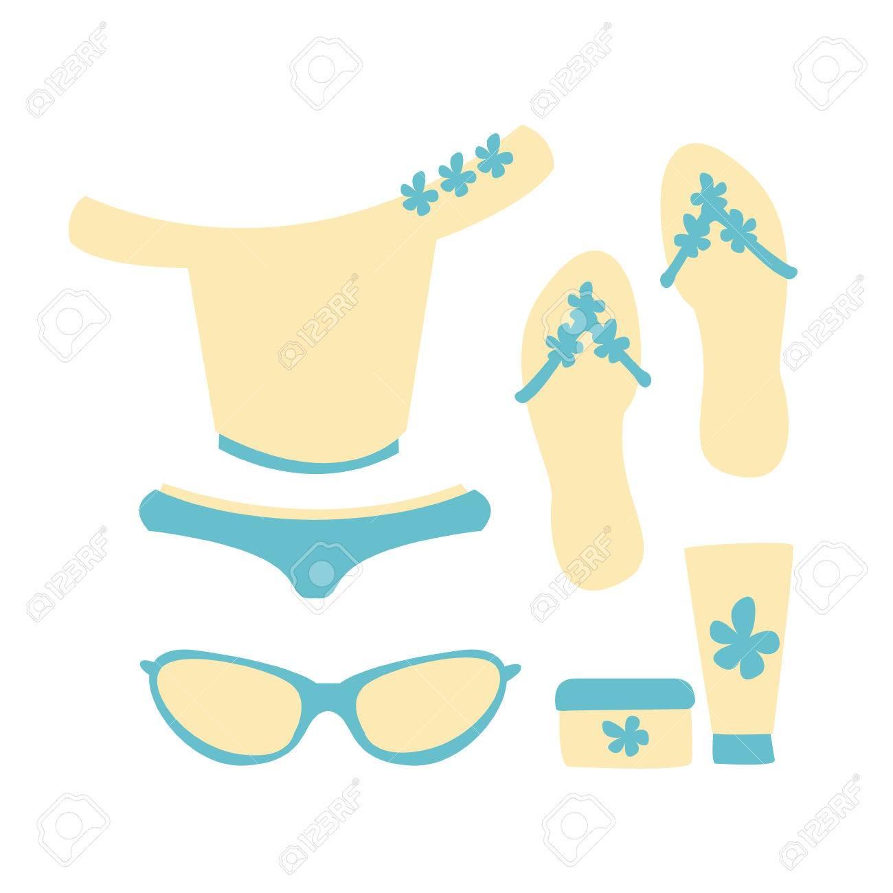 Banque d\u0027images , Maillot de bain avec accessoires de plage dans les  couleurs blanc et bleu. Vacances à la plage et protection solaire.