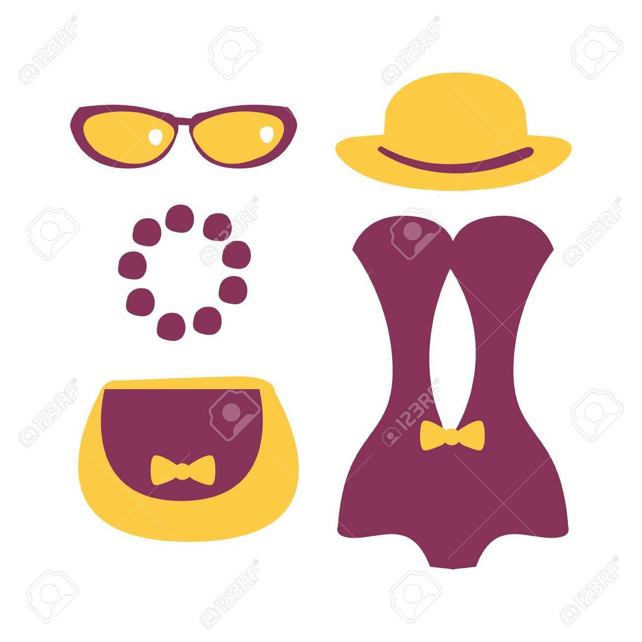 Banque d\u0027images , Maillot de bain violet avec accessoires de plage.  Illustration de dessin animé coloré