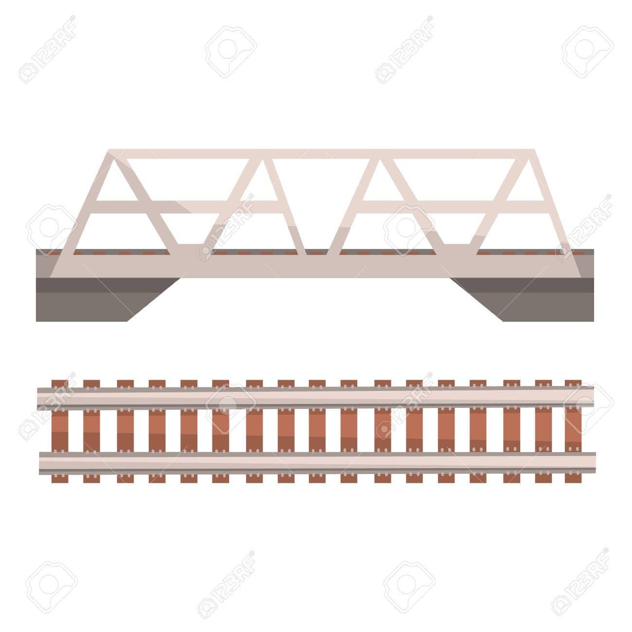 Railway bridge and railroad, rail section. Colorful cartoon illustration - 78290275