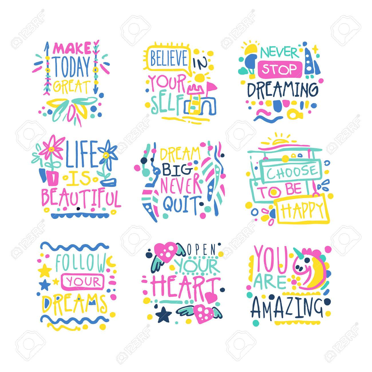 - Short Possitive Messages, Inspirational Quotes Colorful Hand