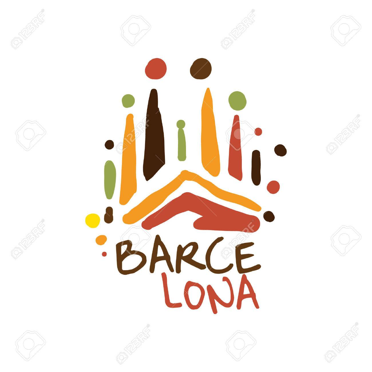 Barcelona tourism logo template hand drawn vector illustration barcelona tourism logo template hand drawn vector illustration for travel agency tour guide sticker pronofoot35fo Image collections