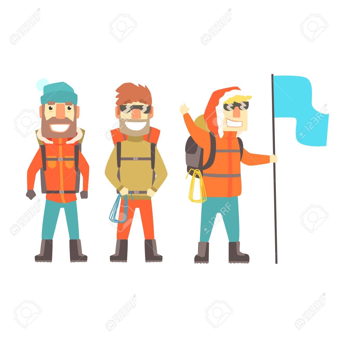 Three mountain climbers with mountain climbing equipment, colorful characters vector Illustration isolated on a white background - 79584996