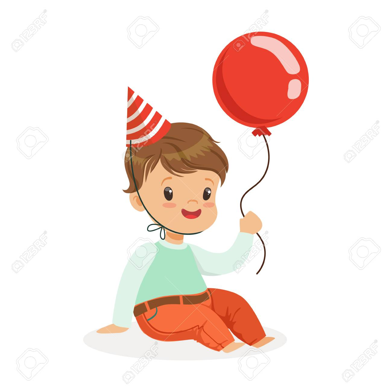 Adorable Baby Boy Wearing A Red Party Hat Sitting And Holding Balloon Kids Birthday
