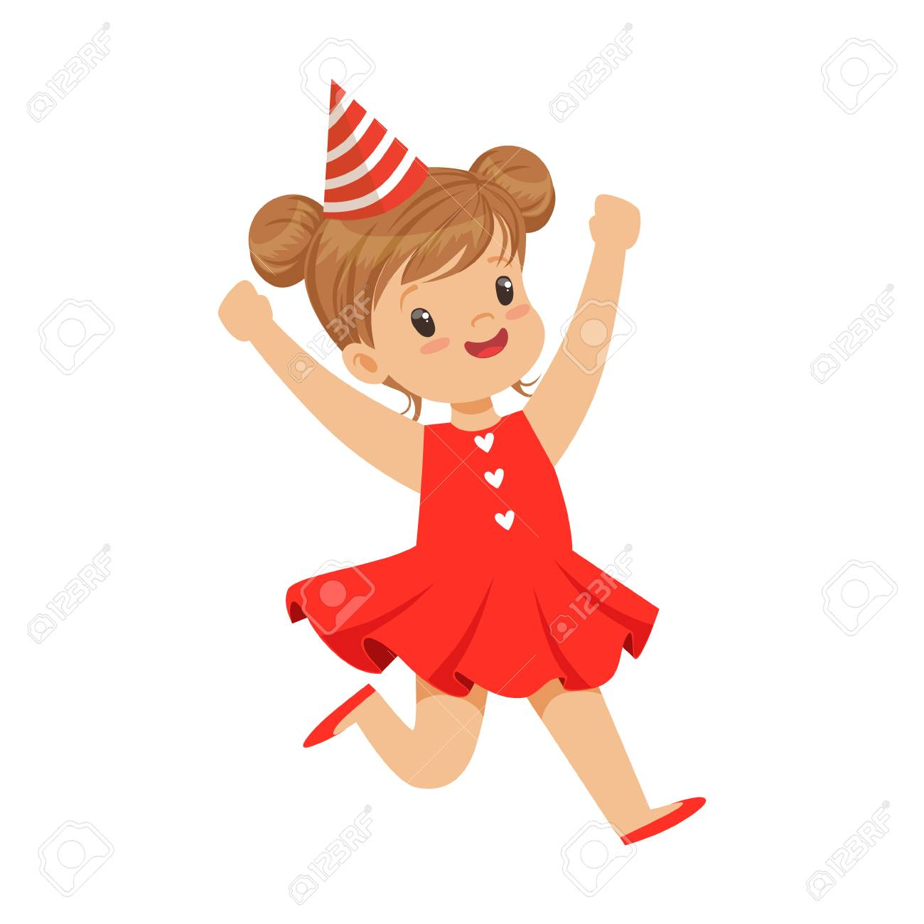 Feliz Sonriente Niña Vistiendo Un Vestido Rojo Y Sombrero De Fiesta ...