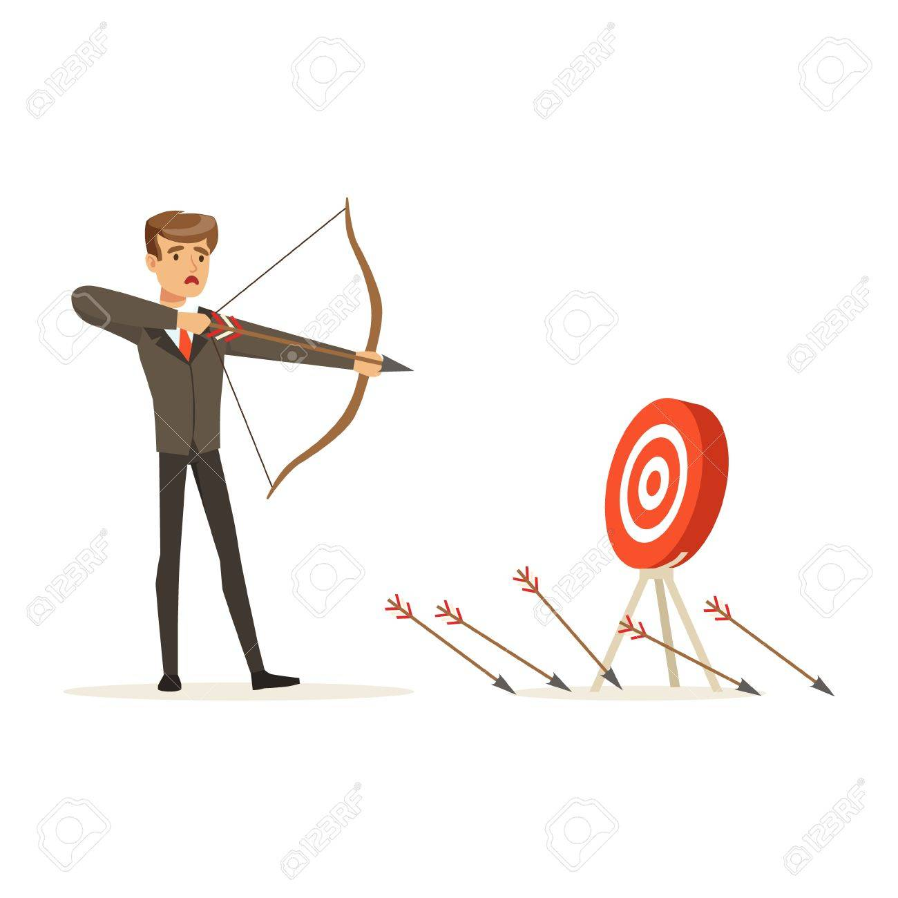 Faiiled businessman with bow and arrow is aiming at target, unsuccessful character vector Illustration isolated on a white background - 80061818