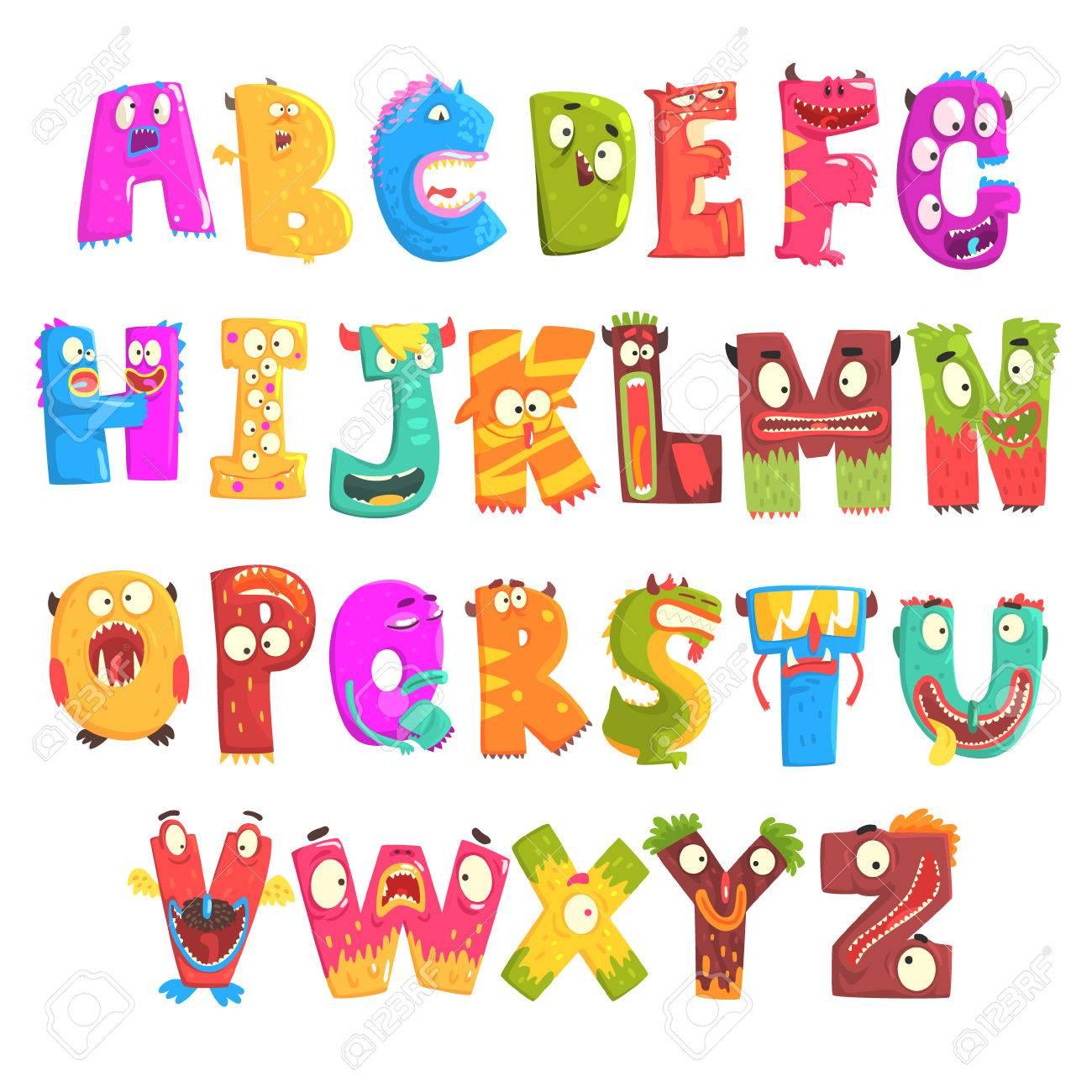 Alfabeto Ingles De Criancas Coloridas Dos Desenhos Animados Com