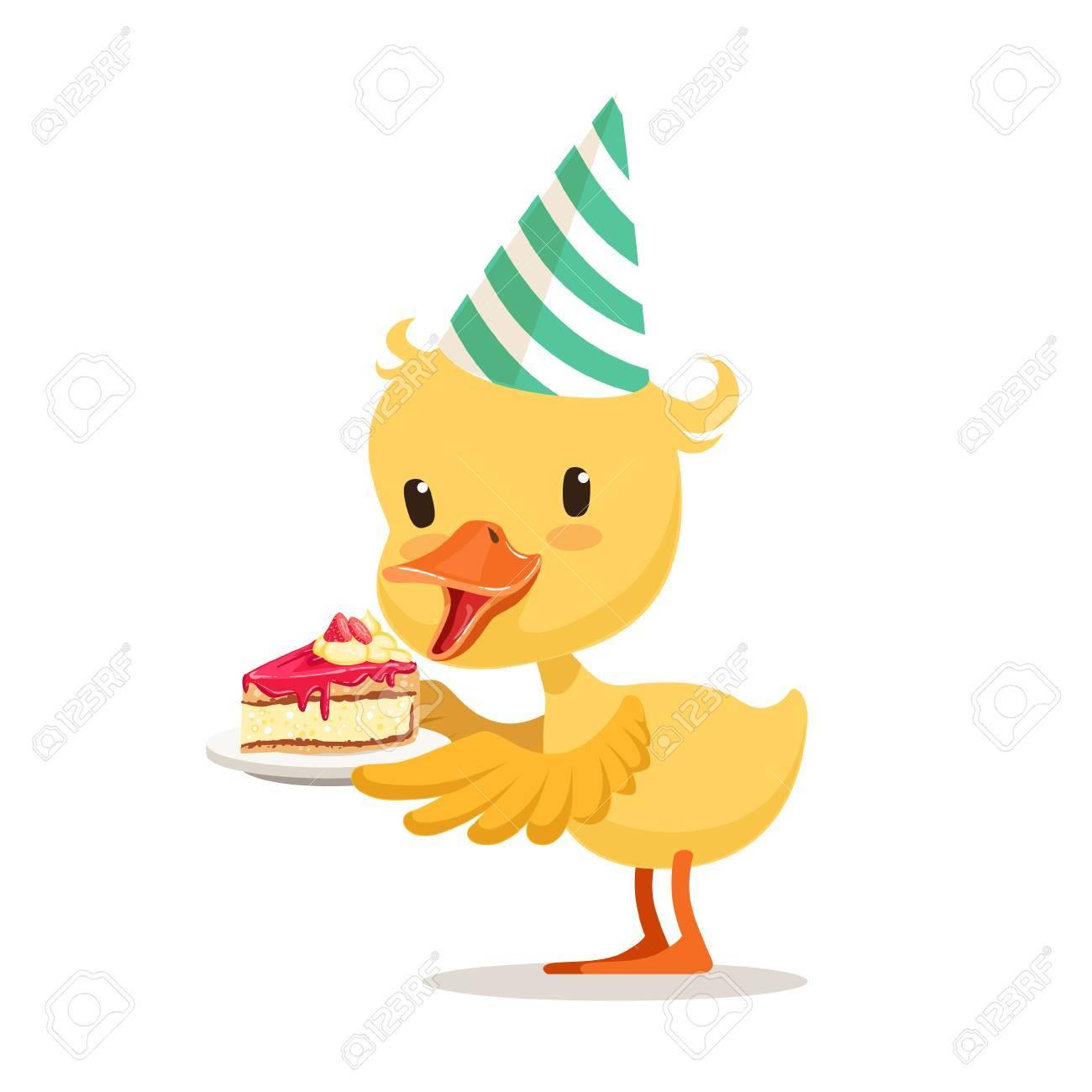 Kleines Karikaturentlein In Einem Parteihut Der Sussen Kuchen