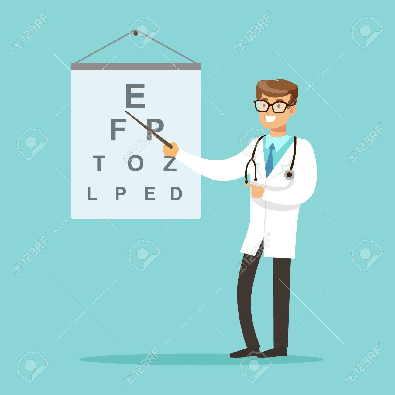 Banque d images - Oculiste ou ophtalmologue ophtalmologue médecin indiquant  le texte de l examen Illustration vectorielle ecb65a15acff