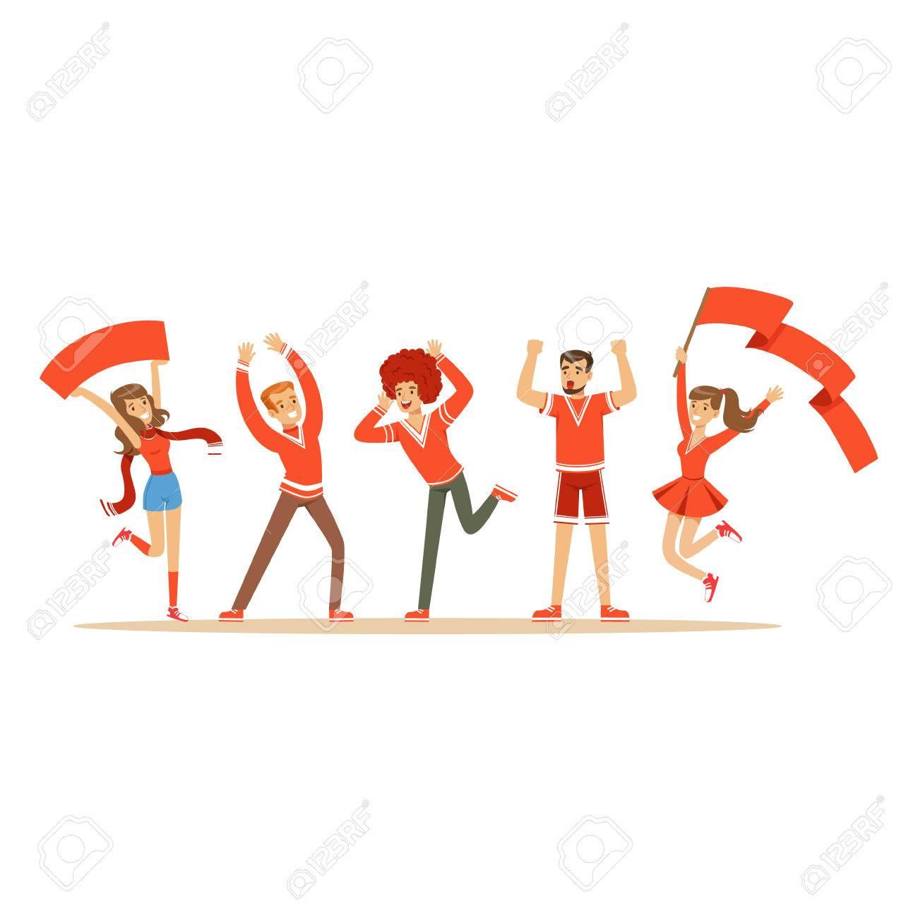 叫び歓声チームを支える赤い服装のスポーツ ファンのグループ