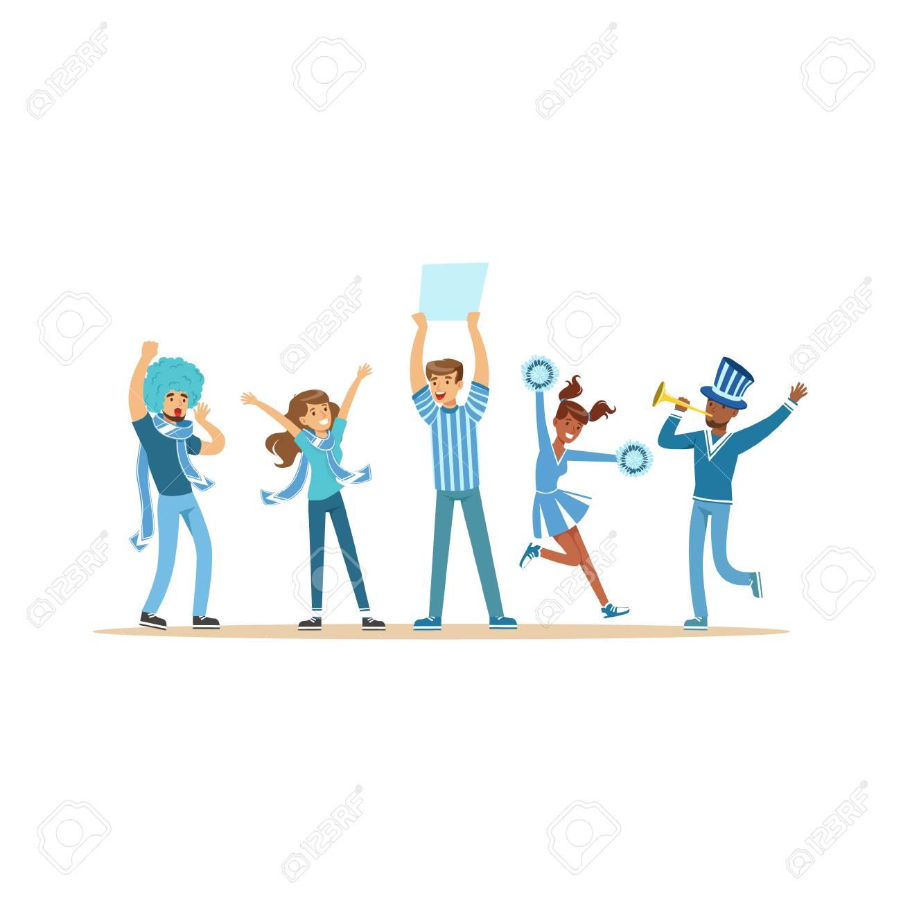 ブルーの衣装に叫び歓声チームを支えるファンのグループ ベクトル