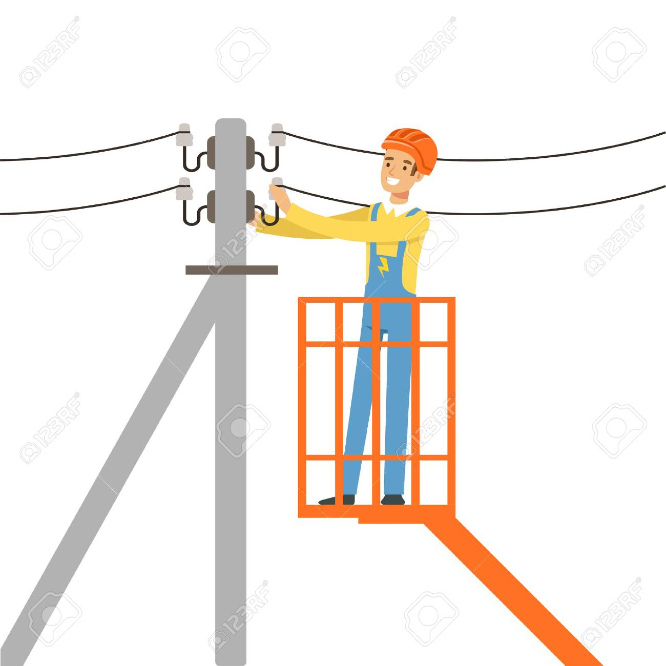 Electrician repairing wire of the power line with bucket hydraulic lifting platform, electric man performing electrical works vector Illustration - 81383567