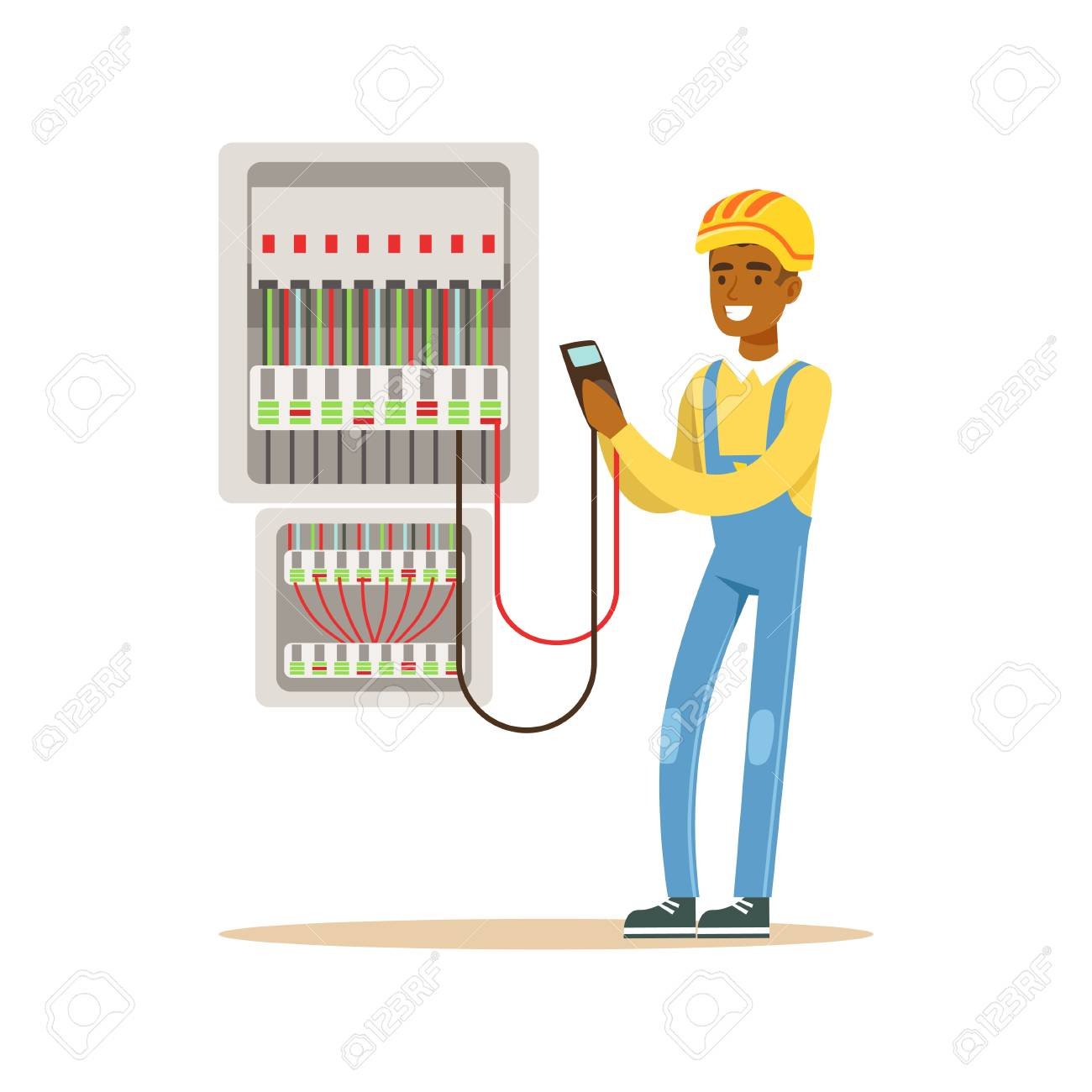 electrician engineer measuring the voltage output in fuse box element box cartoon electrician engineer measuring the voltage output in fuse box, electric man performing electrical works vector