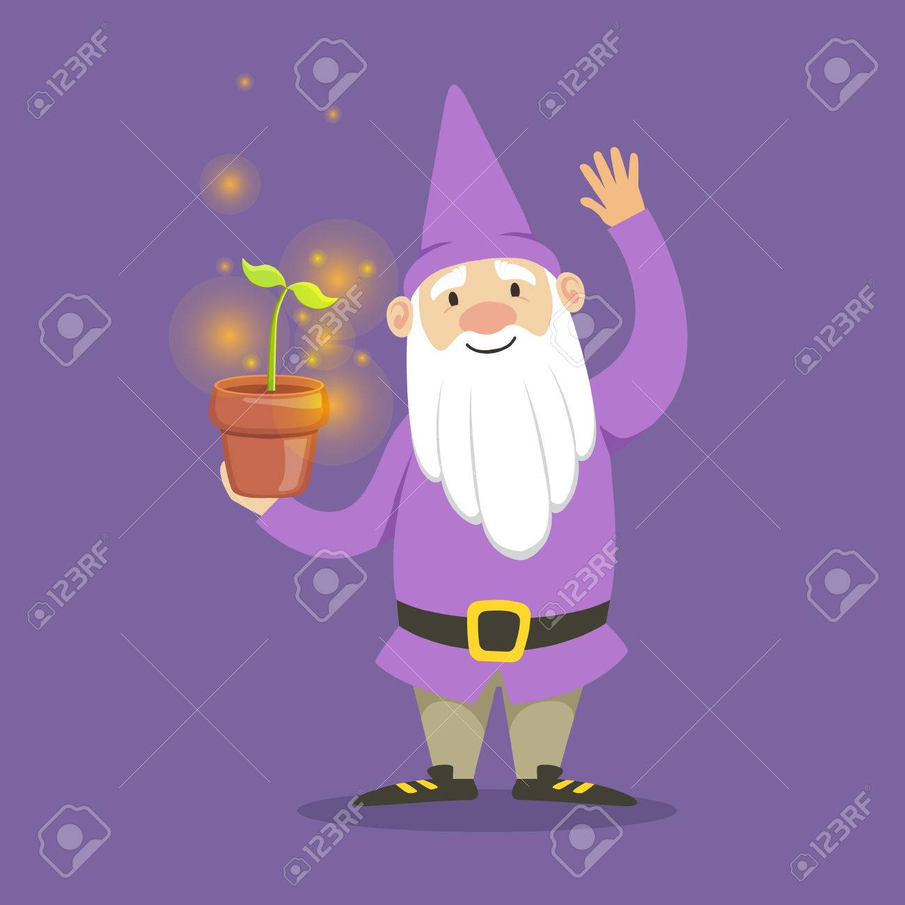3e8a712ab04 Cute dwarf in a purple jacket and hat standing flower pot vector  Illustration Stock Vector -
