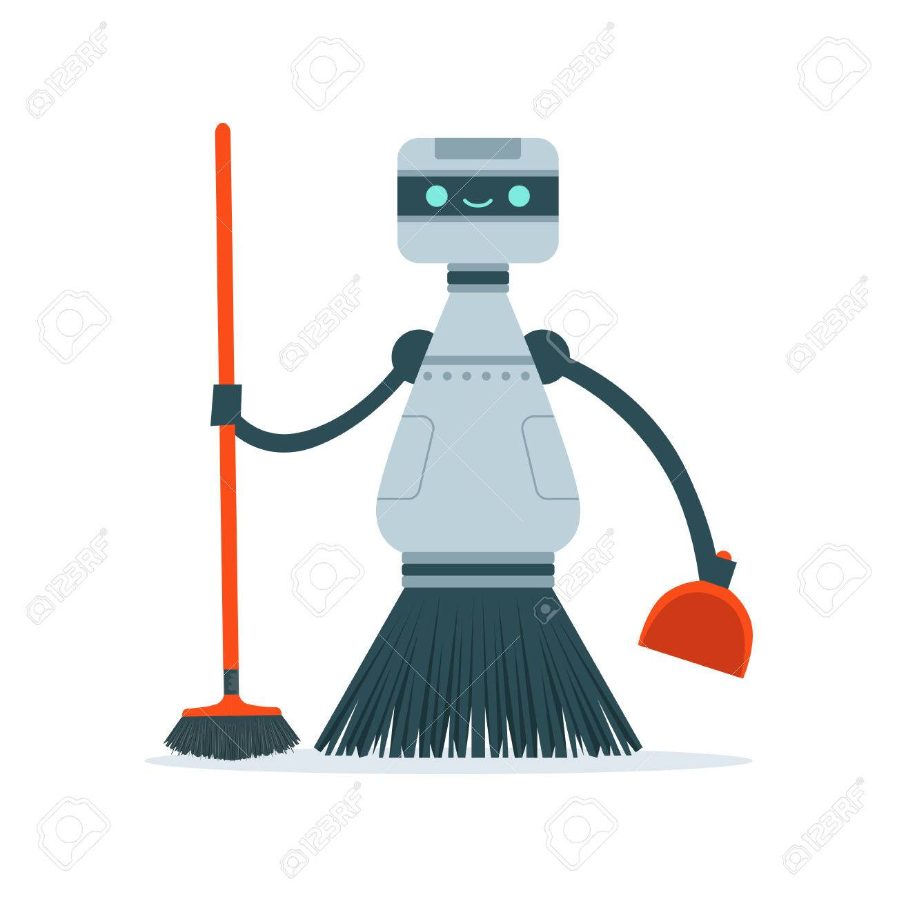 Housemaid cleaning robot character vector Illustration i - 82277486