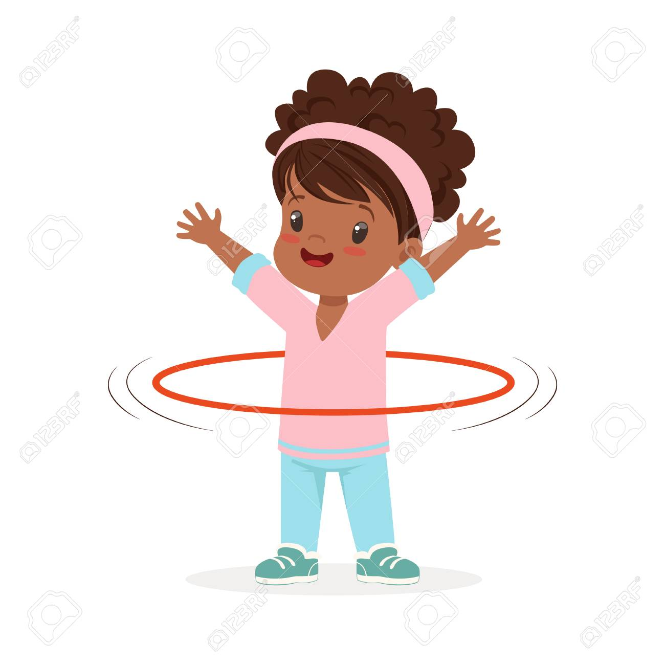 girl spining a hula hoop around the waist kid doing sports colorful
