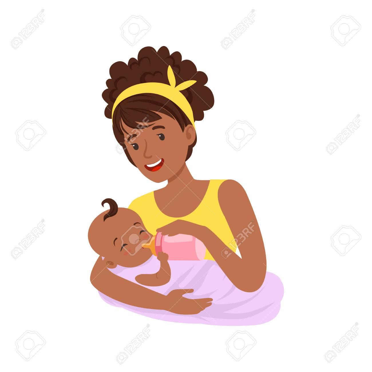 Joven Madre Negra Amamantando A Su Bebé Con Leche Materna Ilustración Vectorial Colorido