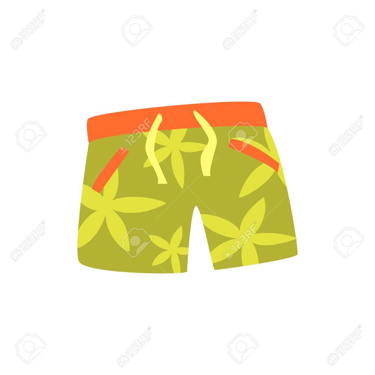 852d4f79a Foto de archivo - Pantalones cortos verdes para nadar ilustración vectorial  de dibujos animados