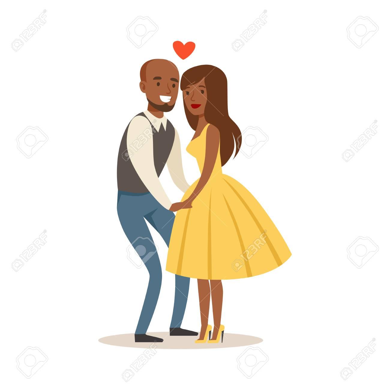 カラフルな文字に手をつないで恋の幸せなカップルのベクトル イラスト