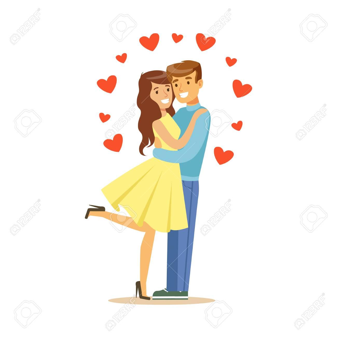 愛、男と女が抱き合ってで幸せなカップルは、ロマンチックな日付の